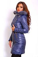 Зимняя женская куртка на синтепоне с капюшоном и натуральным мехом, фото 1