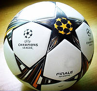 Футбольный мяч Adidas Champions League football Finale Lisbon 2014 White/Solar Blue/Neon Orange, фото 1