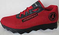Jordan! летние красные мужские спортивные кроссовки сетка кожа, фото 1