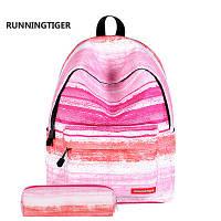 9866854fd386 Удобный рюкзак школы, прогулок в комплекте с пеналом Running Tiger розовый
