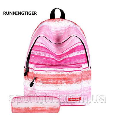 58c351412b1c Удобный рюкзак школы, прогулок в комплекте с пеналом Running Tiger розовый  - Интернет магазин ShopoVik
