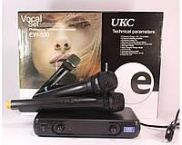 Набір бездротової мікрофон і гарнітура з базою UKC EW500H чорний, 80 db, до 60 м, 250 Mhz, працює від батарейок АА