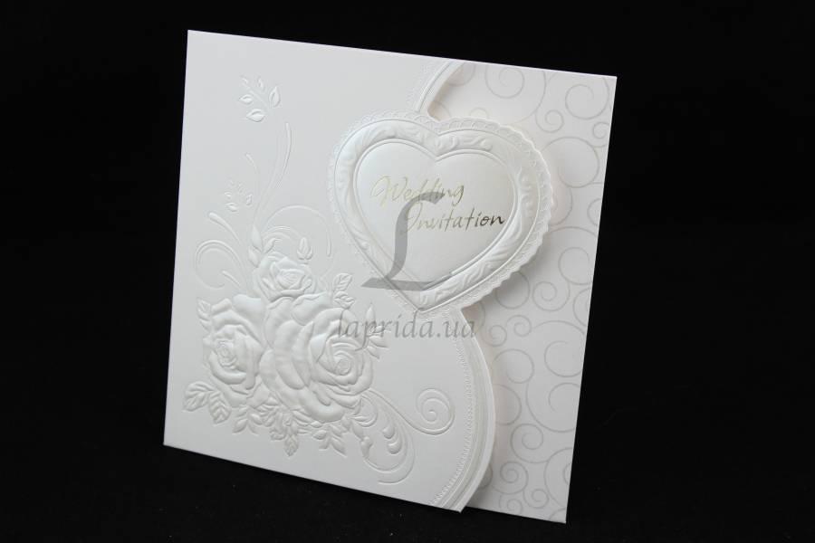 """(Цена за 10шт) Пригласительная открытка """"Wedding"""" на свадьбу, белая, длина 15.5см, ширина 15.5см, Пригласительные на свадьбу, Пригласительная открытка - Интернет - магазин """"Апельсин"""" в Одессе"""