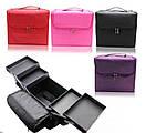 Бьюти Кейс бокс тканевый Сумка чемодан для мастера  Косметики органайзер розовая, фото 2