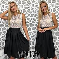 Платье, верх гипюр, низ кристалл + (3 цвета)