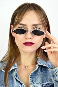 Солнцезащитные очки ретро узкие черные