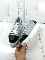 Кеды женские Allure кожаные/замшевые черные с серой вставкой AL0168