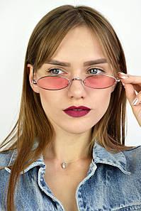 Солнцезащитные очки ретро узкие розовые