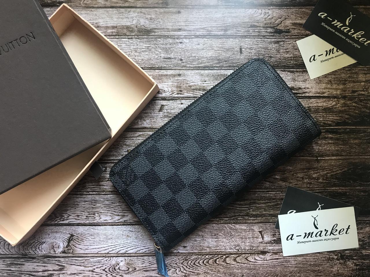 42da1bf9f0c4 Кошелек клатч портмоне бумажник серый мужской женский Louis Vuitton Damier  Graffit премиум реплика - AMARKET -