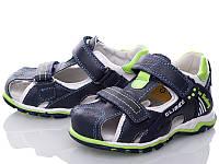 Босоножки, сандалии кожаные для мальчика р.26-31 ТM Clibee F240 blue-green