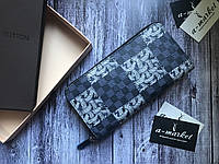 Кошелек клатч портмоне бумажник серый с рисунком мужской женский Louis Vuitton премиум реплика