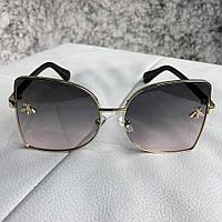 Солнцезащитные очки Gucci Sunglasses Ellipse with Bee Gold Gray (реплика) bbf56e95b0e91