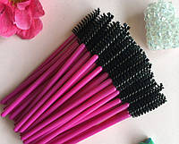 Щеточка расческа для ресниц и бровей (50 шт) нейлон розовая har/-9 dm