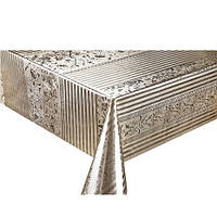 Клеенка ПВХ в рулоне Stenson МА-2210 тиснение c печатью, 1.37*20м, золото, клеенка столовая в рулонах, клеенка пвх, клеенка для стола, скатерти,