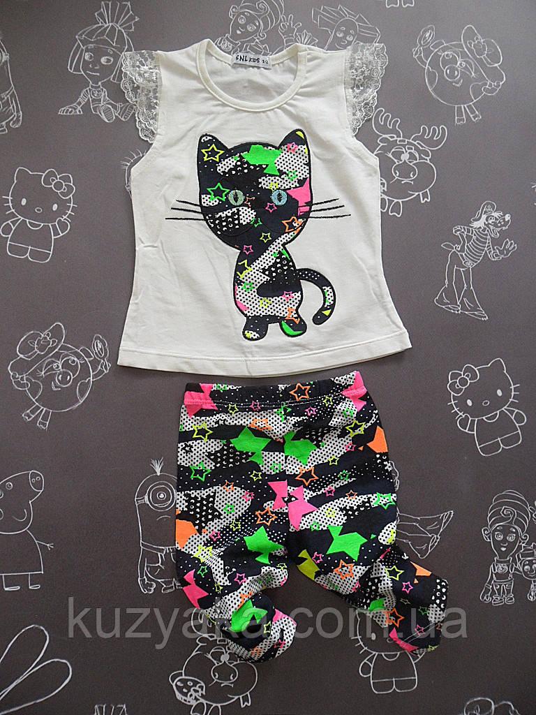 Детский летний костюм Кошечка для девочки на 3-4 года
