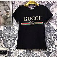 Футболка женская Gucci черная, логотип классика, фото 1