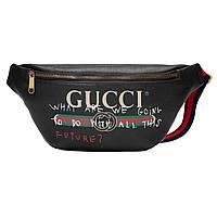 Сумка на пояс бананка брендовая Gucci черная мужская женская копия высокого  качества 33986a4a36df3