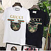 Футболка женская Gucci черная, кот пайетка, фото 3