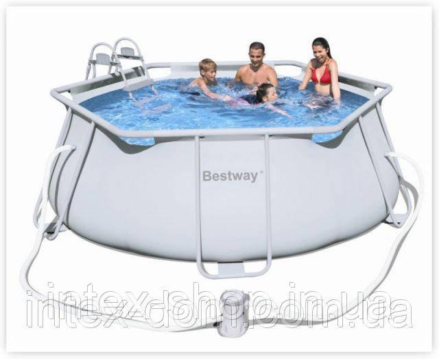 Каркасный бассейн Bestway 56245A+Лестница для бассейна Bestway (356x102 см.)