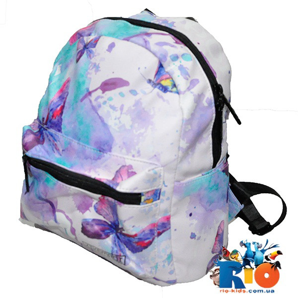 """Школьный  рюкзак """"Бабочки"""" (34x27 см), водоотталкивающий, для девочек (мин.заказ - 1 ед.)"""