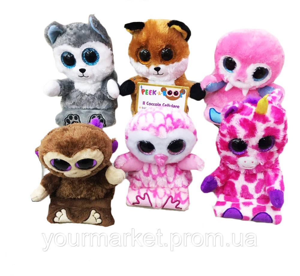 Мягк.игрушка CLR108  6 видов зверюшек, подставка под телефон, размер (