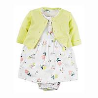 Костюм для девочки платье боди с кардиган 2 в 1 Berni Цветы Желтый с белым (46093)