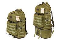 Тактический туристический крепкий рюкзак трансформер 40-60 литров олива. Армия, рыбалка, спорт, туризм