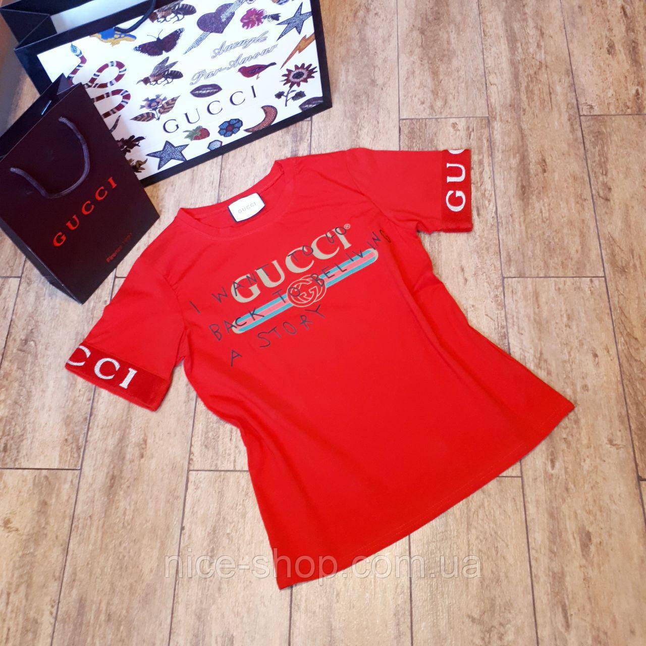 Футболка женская Gucci красная, рукав манжет