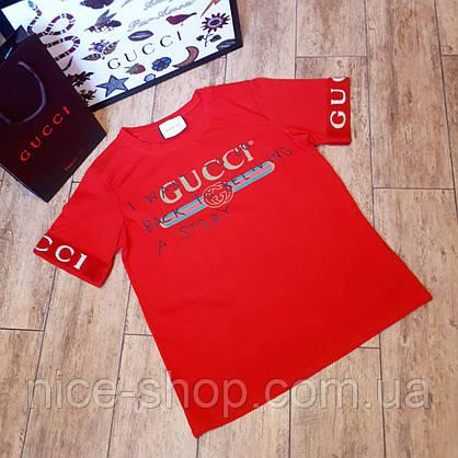 Футболка женская Gucci красная, рукав манжет, фото 2