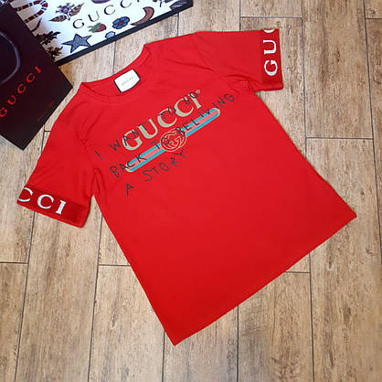Футболка женская Gucci красная, рукав манжет, фото 3