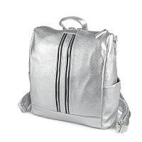 Серебристая сумка-рюкзак трансформер М158-72 средний женский городского типа, фото 1
