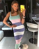Платье женское летнее миди в полоску облегающее вязка разные цвета SMdor1462
