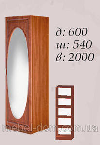 Шкаф однодверный 600 Василиса с зеркалом и полками. Цвет Береза