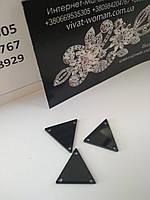 Стразы зеркала пришивные стразы Треугольник 16х16 мм, Jet Black. Цена за шт, фото 1