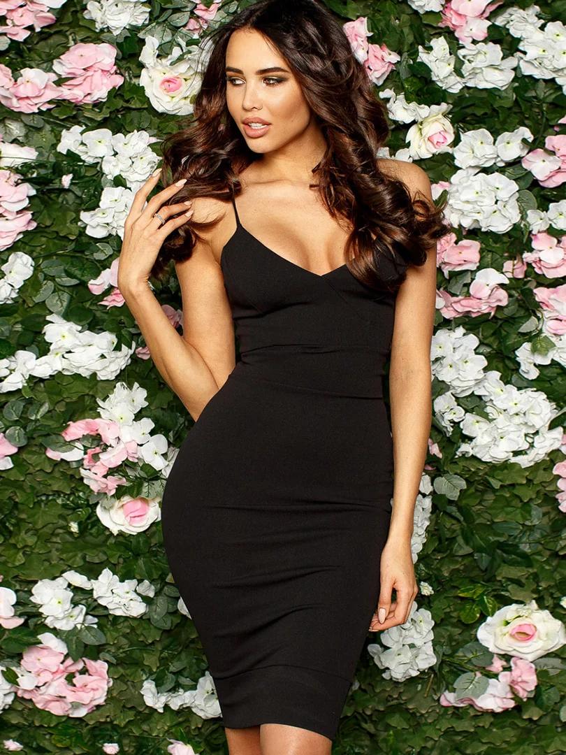 (S, M, L) Облягаюче чорне коктейльне плаття Balis