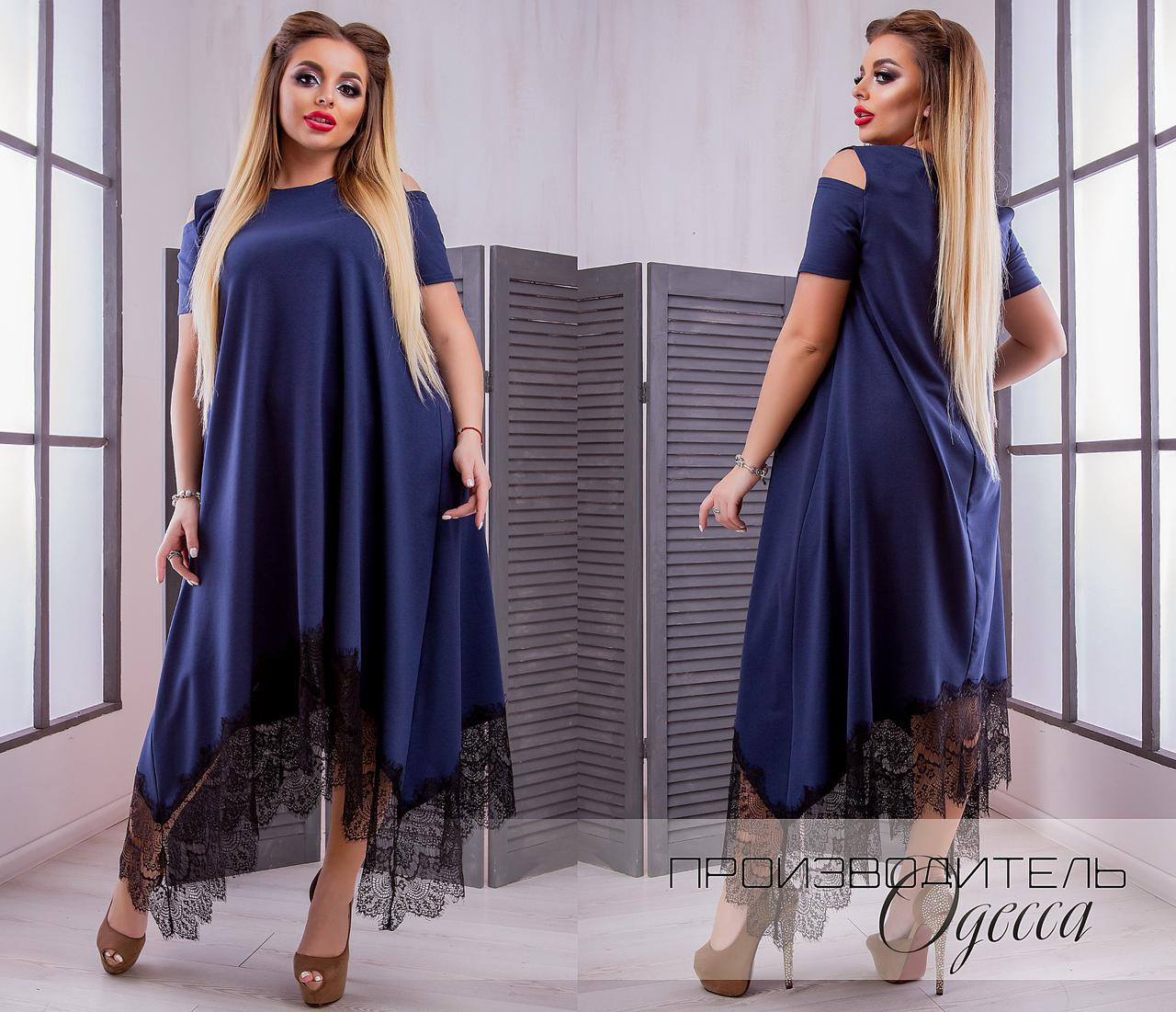 7c1145ef023 Красивое женское платье с кружевом асимметрия батал - Интернет-магазин