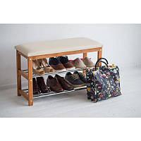 Банкетка с полками для обуви Премьера (дерево/металл)