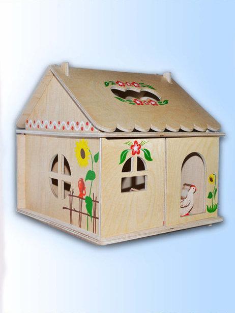 Кукольный домик с росписью 1эт.