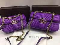 Новинка лето 2018 Сумочка Gucci длина 22см с номерным знаком из натуральной кожи в фиолетовом цвете арт 2081, фото 1