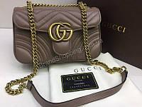 NEW 2018 Хит сезона ультра модная сумка Gucci материл натуральная телячья кожа в коробке цвет темный беж арт 2087, фото 1