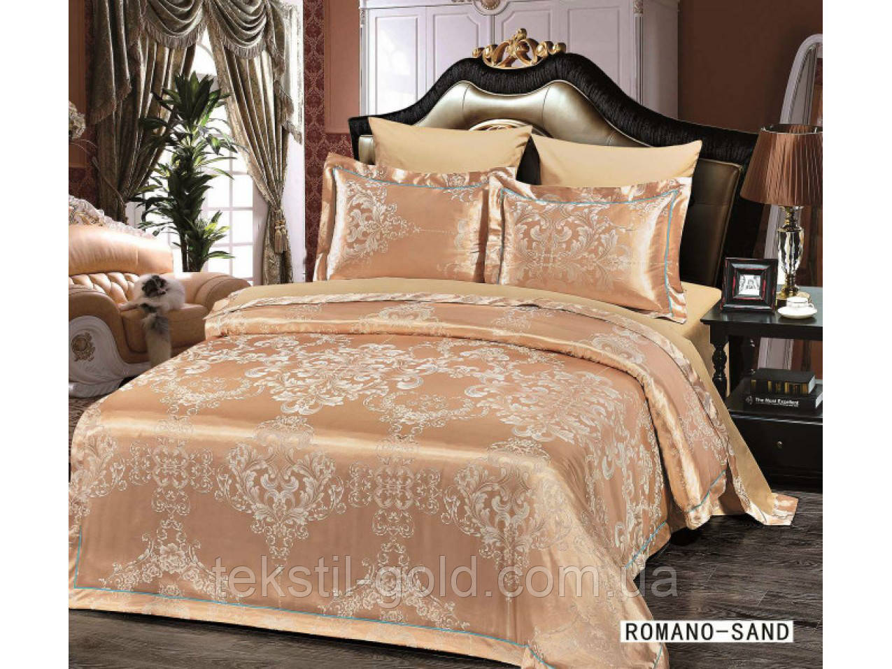 Комплект постельного белья 6 Предметов ТМ ARYA (Турция) Жаккард 2 Сп. евро 200Х220 Romano