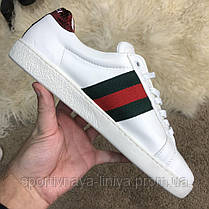 Gucci Snake Embroidered Sneaker White реплика, фото 2