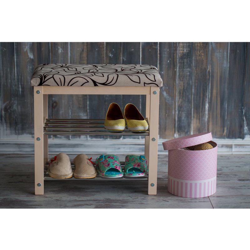 Банкетка с полками для обуви Премьера мини (дерево/металл)