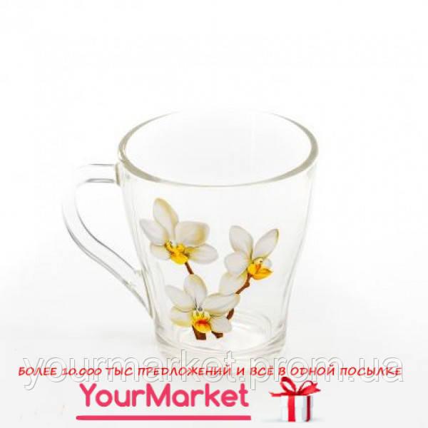 85002773, Чашка стеклянная Грация Белая Орхидея 250 мл