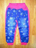 Комбинированные яркие спортивные штаны на девочку, р.128