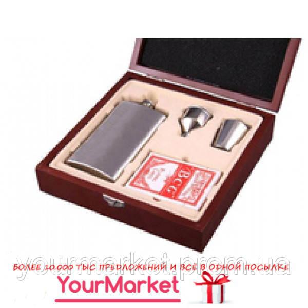Набор подарочный для мужчины 4 пр, 221-048 фляга, стопка, воронка, кар