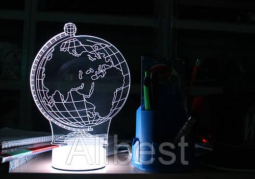 """3D светильник, лампа, ночник с эффектом трехмерного изображения """"Глобус"""""""