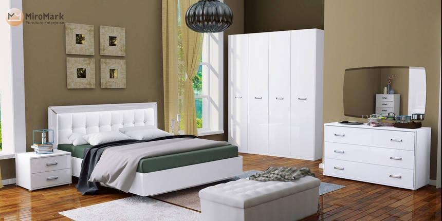 Кровать 160*200 без каркаса с мягкой спинкой  Белла глянец белый ТМ Миро Марк, фото 2