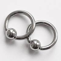 Кольцо сегментное для пирсинга: диаметр 8 мм,толщина 1.6 мм, шарик 4 мм. Сталь 316L. , фото 1