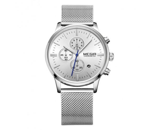 Мужские часы Megir 2011 Silver - гарантия 12 месяцев